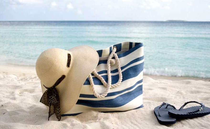 beach, beach bag, summer, fun in the sun, flip flops, wide brim hat, blue, sea, ocean, beach side, calm, relax, chill,