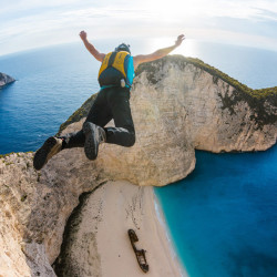base jumping, parachute, cliff
