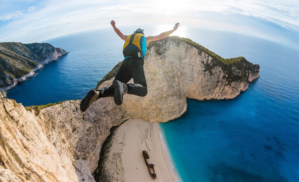 base jumping, parachute, cliff