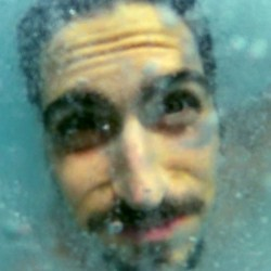 underwater, gopro, blue, scary, man, moustache