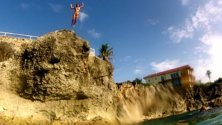 clif jumping, cliff, ocean, blue
