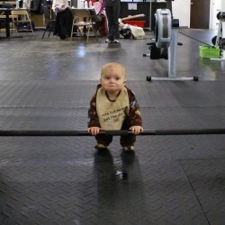 baby, lifitng weights, staying in shape