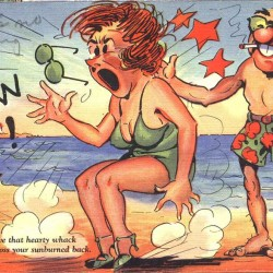 sunburn, ouch, painful sunburn, skin cancer, funny, vintage, postcard, sea, fun in the sun, ocean