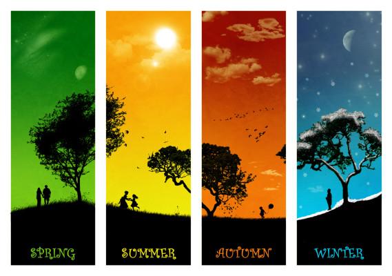 winter, summer, spring, seasons, colors