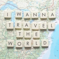 i wanna travel the world, i want to travel the world, wanderlust, quote, travel quote, wolrd map, map, scrabble letters