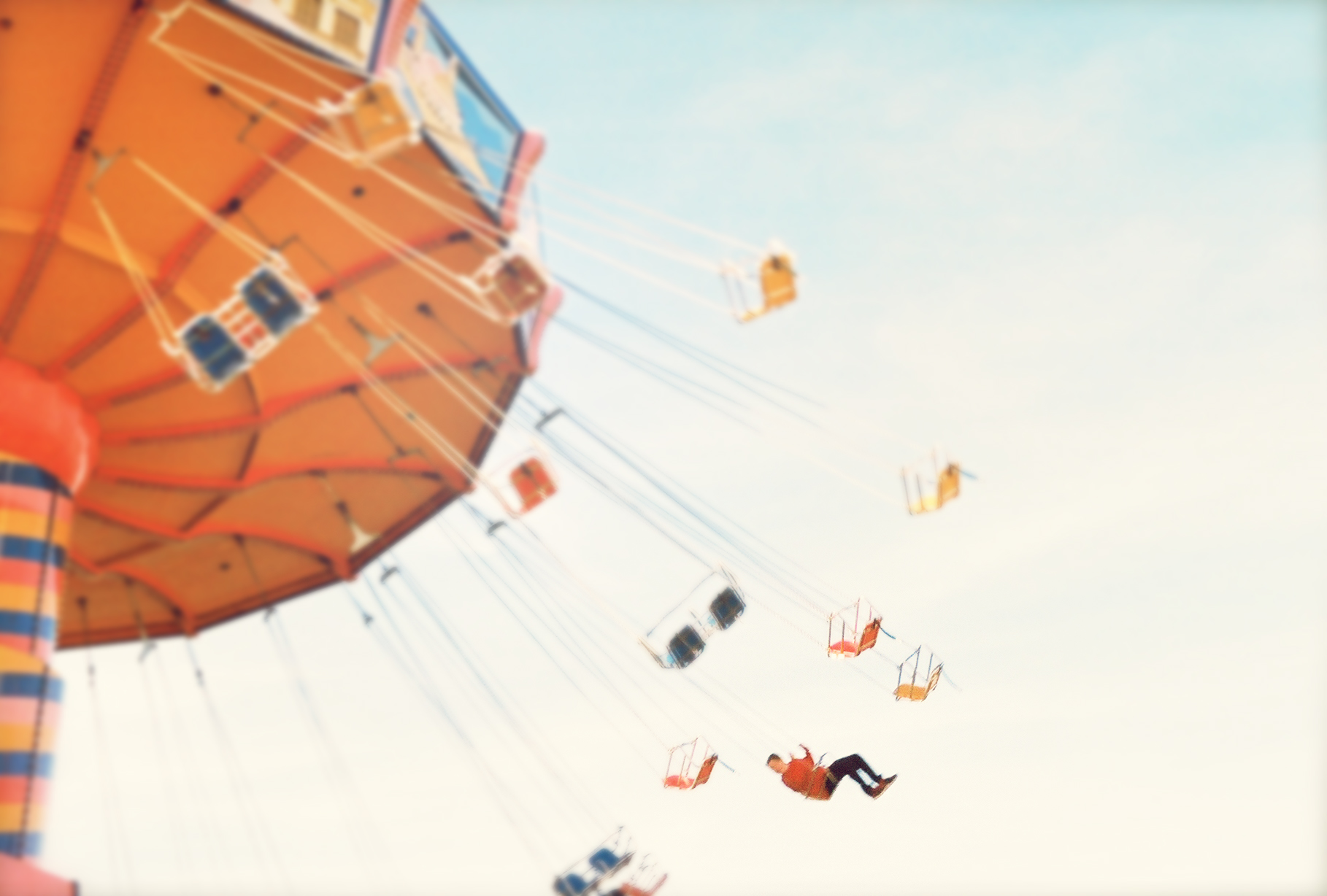 carnival, confetti, merry go round, roller coaster, magic, flying, flying solo, alone, vintage, summer, freedom