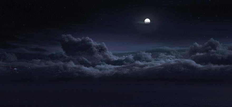 Moon, night, clouds, blue, navy, dark, sky, sea of clouds, dreamy, scary, warewolf