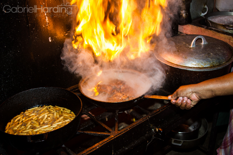 fire, cooking, pan, sauce, fries, food