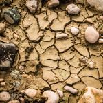 river bed, cracked, mud, rocks, cracks