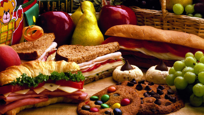 sandwhich, cookies, lots of sandwiches