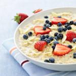 oatmeal, fruits, strawberries, blueberries, milk, good