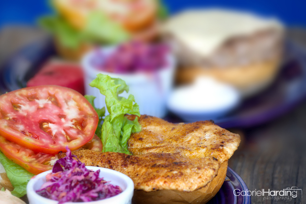 food, food photography, sandwich, chicken sandwich, purple, blue, bread, toasted bread