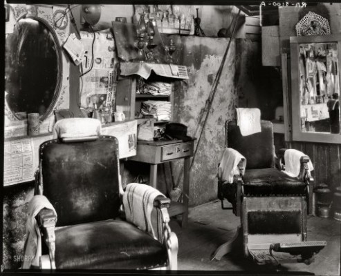black and white, grimy, dirty, barber shop, messy, retro, old school, barber shop chairs