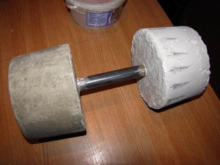 cement, dumbbell, weight, homemade