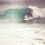 surf, girl surfing, blue, pink, retro, wave, swell, http://wetravelandblog.com