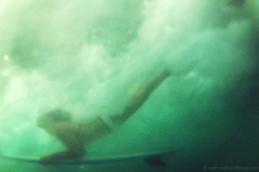 duckdive, girl, surf, underwater