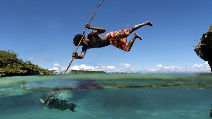 spear fishing, jump, tribal, fish
