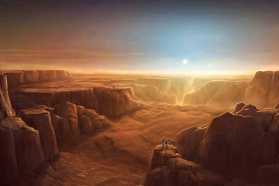 mars, valles marineris, sunset, landscape, canyon, astronauts, epic exploration, space travel, http://grafik.deviantart.com/