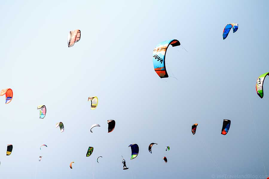 kite surfing in cabarete, kites, kite littered sky, sky, colors