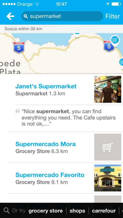 but you'll find all the supermarkets