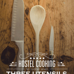 typography, vintage, insignia, kitchen, three utensils, three ingredients, knives, wood, cutting, kitchen tips http://wetravelandblog.com