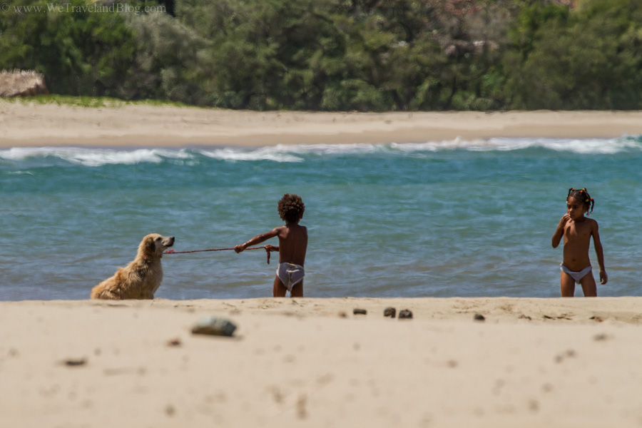 time for a bath, local life, beach life, dominican republic, who's walking who, local children, http://wetravelandblog.com