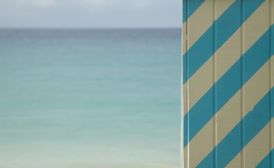 beach hut, hut, beach, blue, stripes