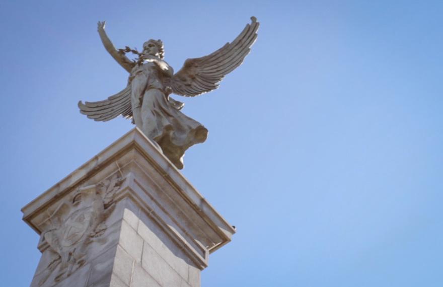 Jeanne Mance, Montreal, La renomee, the renown, rumours, statue, angel, blue sky, beautiful, tams, http://wetravleandblog.com