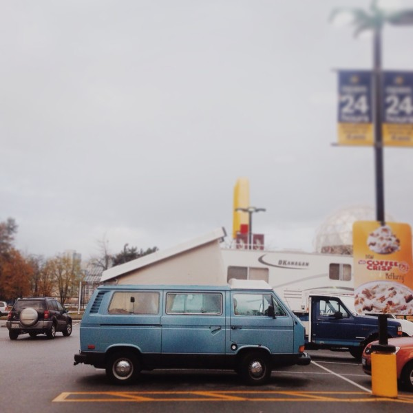 westfalia, vanagon, retro, blue, big blu, #homeiswhereyouparkit, mcdonald's, parking lot, yellow, http://wetravelandblog.com