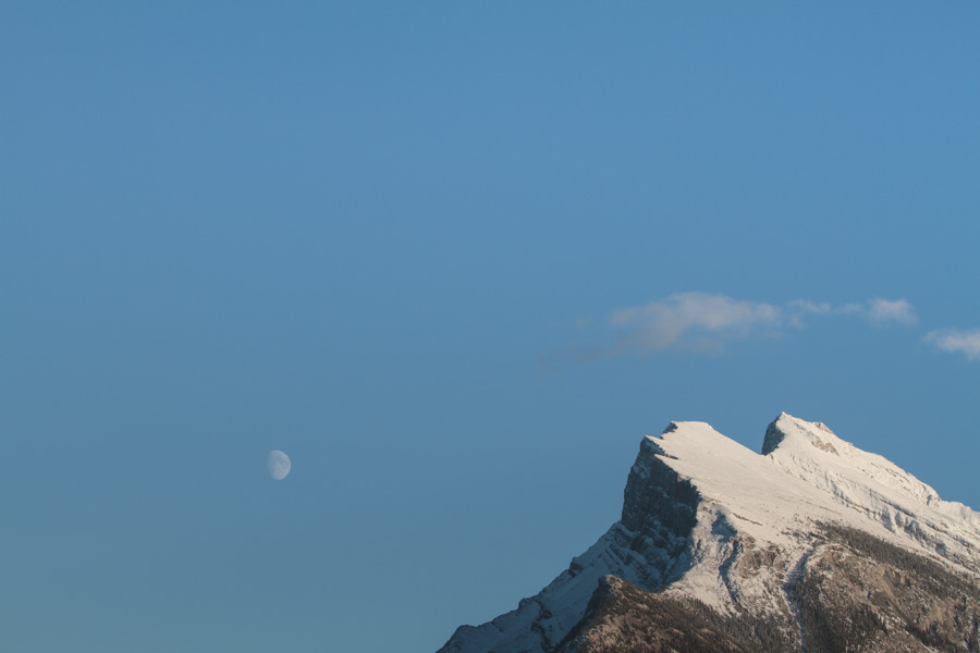 mountains, snow, moon, landscape, the rockies