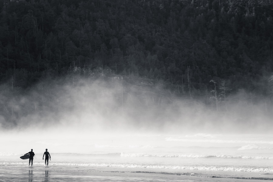 black and white foggy surfers small