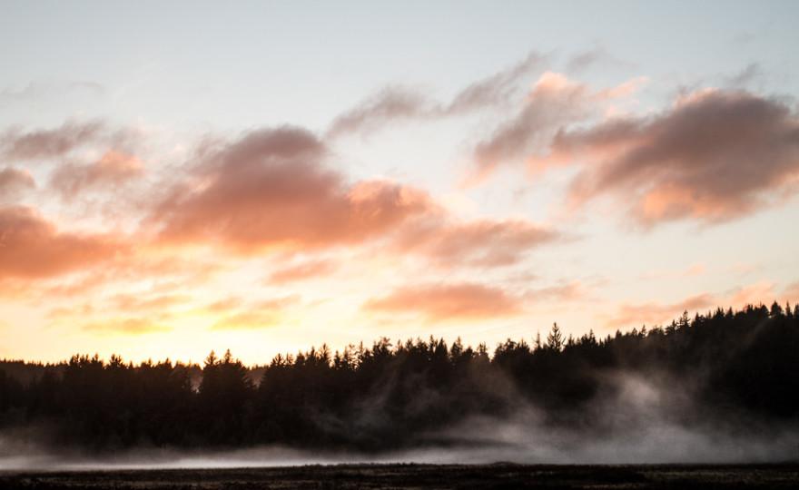 sunset, mist, clouds, sky, colors