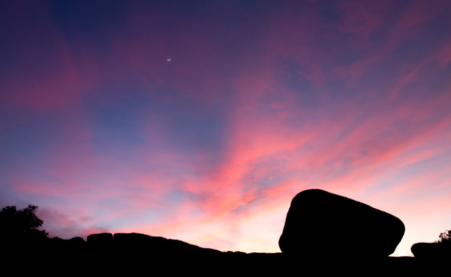 sunset, rocks, joshua tree, moon